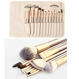 Ammiy Makeup Brush Set with Wood Handle, White Case (12-Pieces)