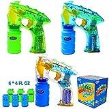 3 Bubble Guns Kit LED Light Up with 6 of 4oz Bubble Gun