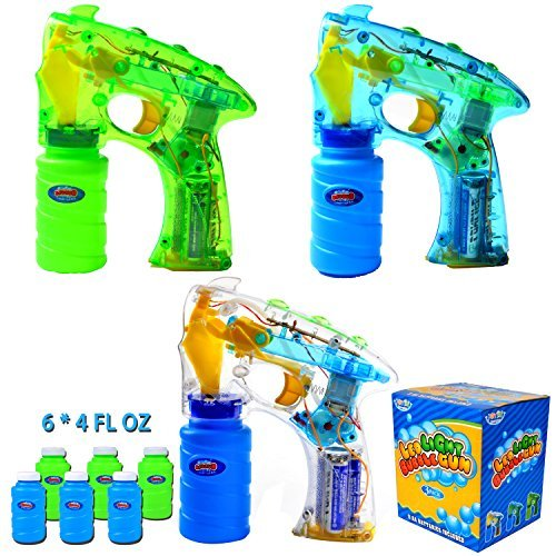 3 Bubble Guns Kit LED Light Up with 6 of 4oz Bubble Gun Party Favors, Bubble Machine Gun Party Supplies, Summer Toy, Outdoors Activity, Birthday Gift, Bubble Blower by Joyin Toy
