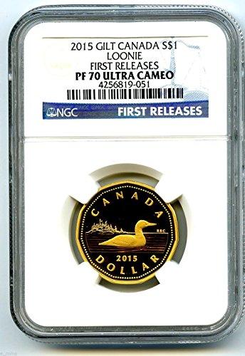 2015 Canada Silver Proof Loonie Dollar NGC PF70 UCAM .999 Fine Gilt Gold Loon