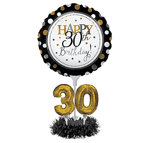 Creative Converting Happy 30th Birthday Balloon Centerpiece Black and Gold for Milestone Birthday - 317305