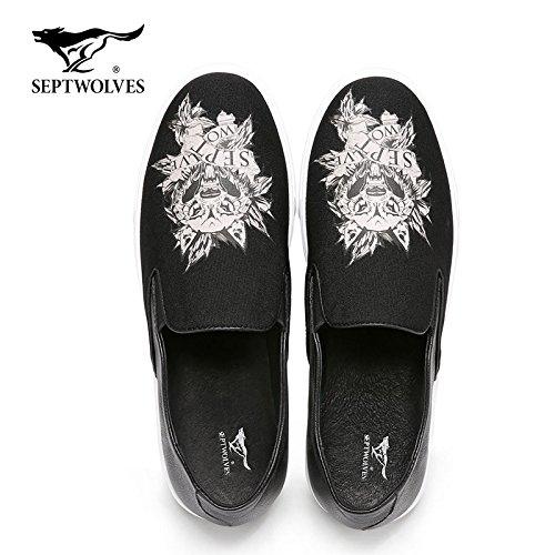Aemember Shoes Cabeza De Lobo De Los Hombres De La Primavera Zapatos De Ocio Transpirable De Vender Zapatos De Patada A Los Hombres Jóvenes Y, 39, Blanco Y Negro 0139