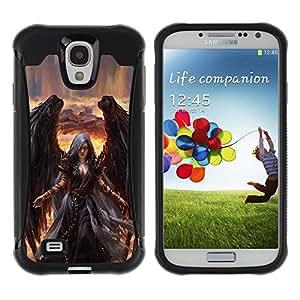 """Hypernova Defender Series TPU protection Cas Case Coque pour Samsung Galaxy S4 IV I9500 [Muerte de Giro Black Wings Bruja""""]"""