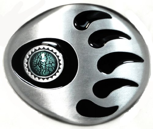 Bear Claw 3D Sculpted Belt Buckle in Pewter Tone with Faux Turquoise Stone
