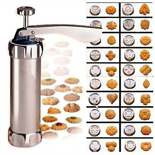 N.CHOICE Aluminum Biscuit Cookie Maker Pump Press Machine Cake Decor 20 Moulds 4 Nozzles Silicone Cookie Stamp Biscuit (Biscuit Maker)