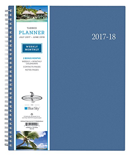 """Blue Sky 2017-2018 Academic Year Weekly & Monthly Planner, Twin-Wire Bound, 8.5"""" x 11"""", Endless Summer"""