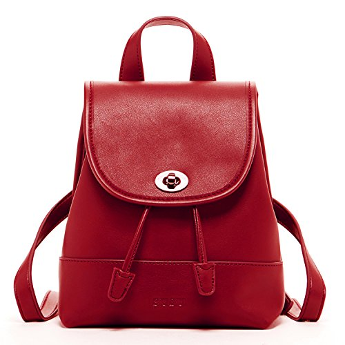 Leather Backpack Purse for Women - Small Red Womens Backpacks Trendy Back pack Luxury Fashion Designer Vintage Style Fancy Stylish It Bag Cute Pocket Book With Drawstring and Flap Buckle Closure Backpack Style Handbag