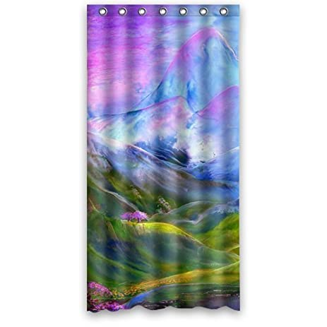 Mountain Shower Curtain   Hipster Mountainous Landscapes Bathroom Shower  Curtains Polyester Waterproof 36 Wide X 72