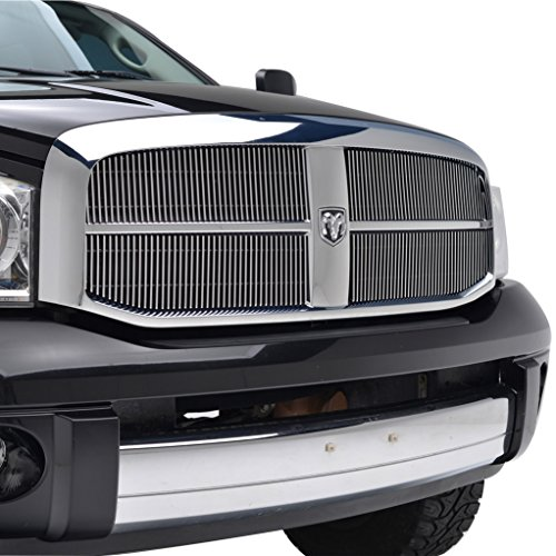 E-Autogrilles Aluminum Polished 4mm Vertical Overlay Chrome Billet Grille Grill Insert for (Chrome Grill Grille Overlay)