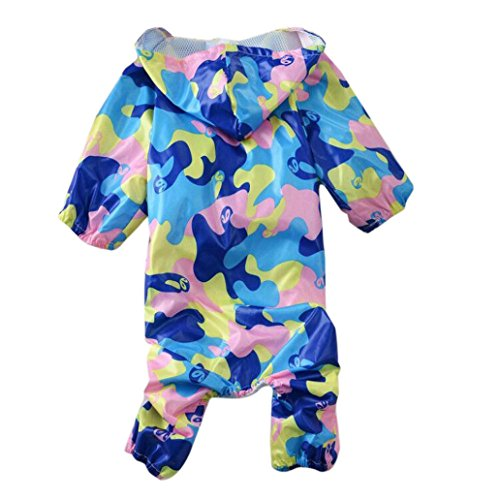 ��ZYEE❤️ BIG PROMOTION!Pet Dog Clothes Camouflage Raincoat Hoodie Hooded Rain Coat Small Dogs Pet (L, Blue) ()