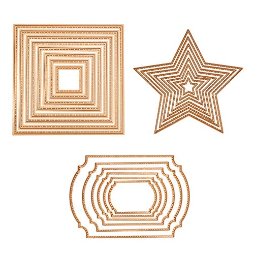 BENECREAT 3 Sets Gold Cutting Dies Cut Metal Scrapbooking Stencils Nesting Die for DIY Embossing Photo Album Decorative DIY Paper Cards Making - Square, Rectangle, Star ()