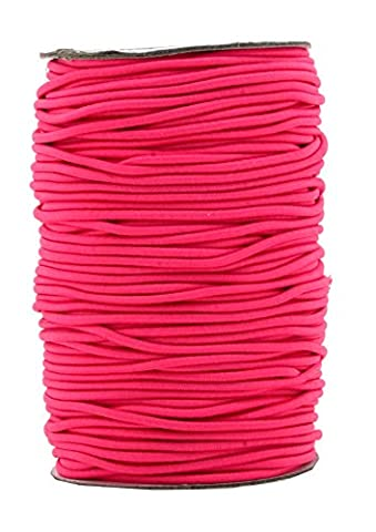 Mandala Crafts 2mm 70M Round Rubber Fabric Crafting Stretch Elastic Cord String (Hot Pink)