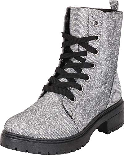 Cambridge Select Women's Round Toe Lace-Up Chunky Lug Sole Combat Boot,9 B(M) US,Pewter -