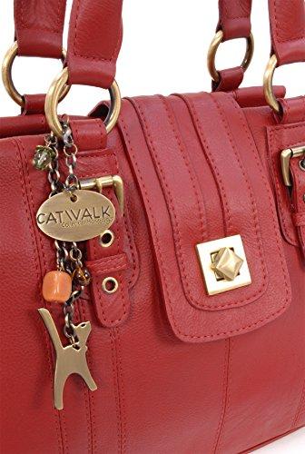 Sac Fermeture Catwalk Collection à lock Kate en main twist cuir Rouge signé rqrwZ6