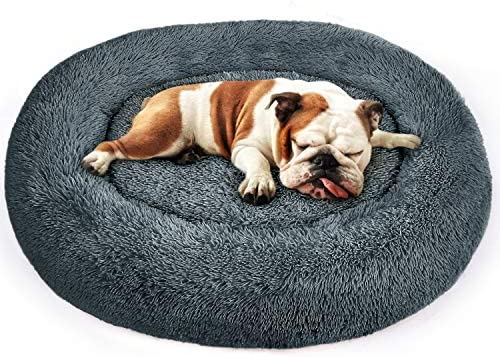PUPPBUDD Donut Dog Bed Cat Bed, Faux Fur Pet Bed Self-Warming Donut Cuddler, Comfortable Round Oval Long Plush Dog Beds for Large Medium Dogs and Cats Multiple Sizes