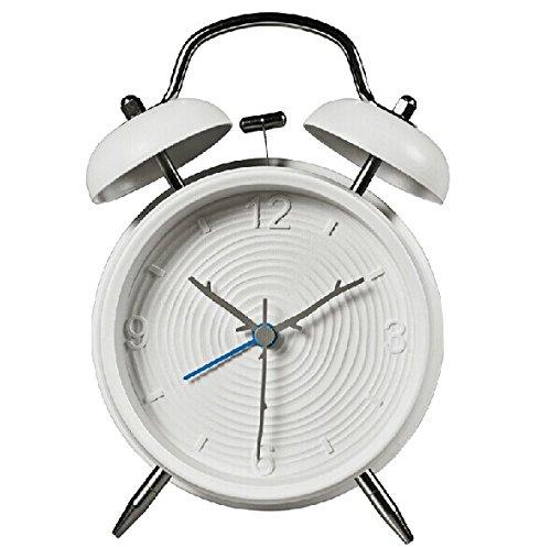 ElecBank Multi-style 4-inch Retro Twin Bell Silent Non Ticking Alarm Clock (Ring white)