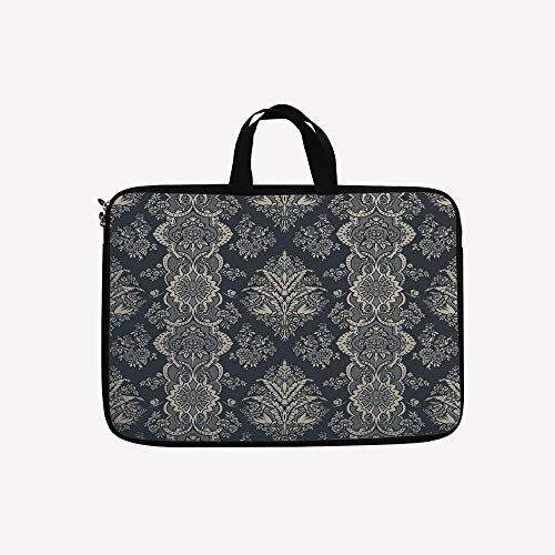 3D Printed Double Zipper Laptop Bag,Classic Pattern with Orn