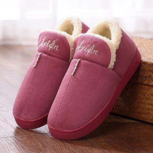 Skid Home Warm Indoor Men Memory Wool Women Drag Resistant Foam Cozy Asifn House Snti Slippers Red Wear Pqgw4z5