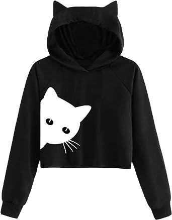 Womens Long Sleeve Crop Top Hoodies Lion Pattern Cat Ear Lumbar Hoodie Pullover Sweater