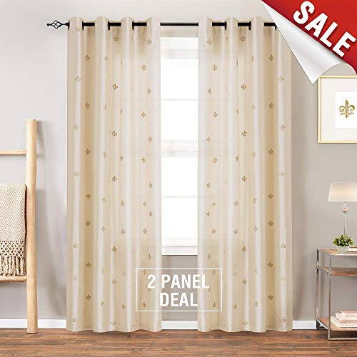 Flur De Lis Embroidered Curtains for Bedroom 95 inches Long Faux Silk Semi Sheers Embroidery Window Curtain for Living Room Drapes Grommet Top 2 Panels Ivory