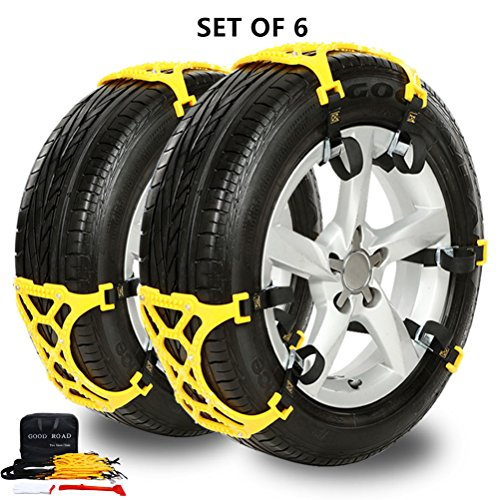 Mannice Adjustable Anti Snow Anti- Skid Chains with Gloves and Snow Shovel for Vehicles (Set of 6)