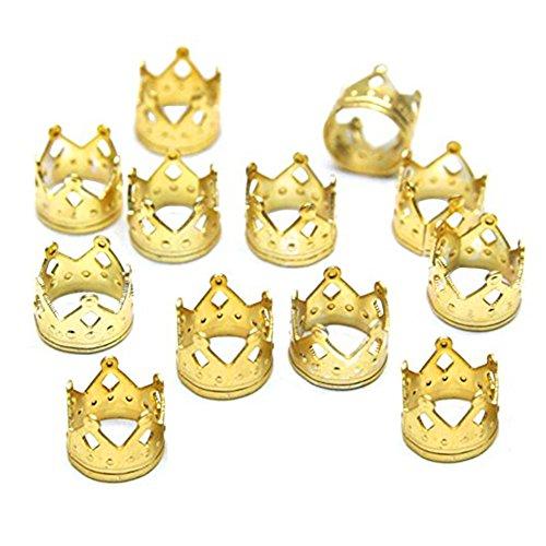 Dreadlocks Beads Dread Lock Crown Metal Cuffs Hair Accessories Decoration Filigree Tube 50pcs (Golden) supplier