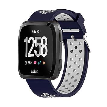 AOLVO - Correa de Reloj para Fitbit Versa, Gel de sílice, Doble Color,