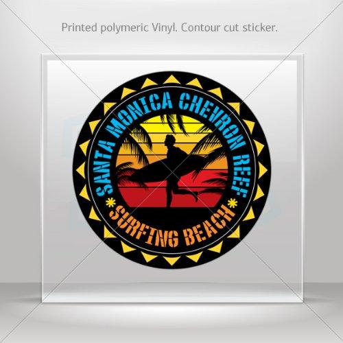 Decals Decal Santa Monica Chevron Reef Souvenir Memorabilia Surfing Beach Bic (6 X 6 In)
