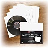 (300) BCW 12'' White Divider Cards - Full Cut 30 Mil - Tab Style for 12'' Records - 12 1/2'' x 13'' - BCW-33RPM-D