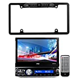 EnrockVideo PLBT73G-EABC256B Pyle 7'' Bluetooth GPS CD USB AUX AM/FM Touchscreen Receiver with Built-in Mic, Car License Plate Frame Rear View Backup Waterproof Camera