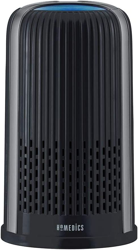 HoMedics TotalClean 4-in-1 Tower Air Purifier, 360-Degree HEPA Filtration for Allergens, Dust and Dander with Ionizer for Home, Office and Desktop, Night-Light and Essential Oil Aromatherapy, Black