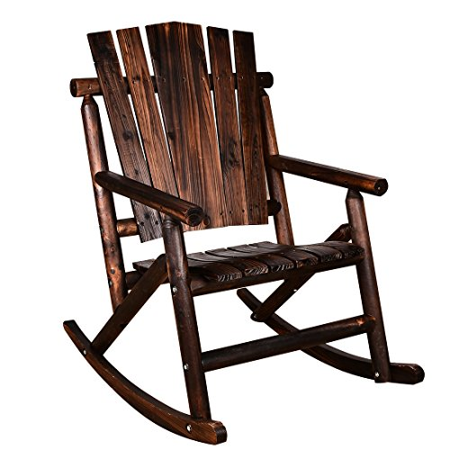 MAGIC UNION Rocking Chair Single Porch Rocker Hardwood Rustic Large Space Patio Furniture (Wood Garden Rocker)