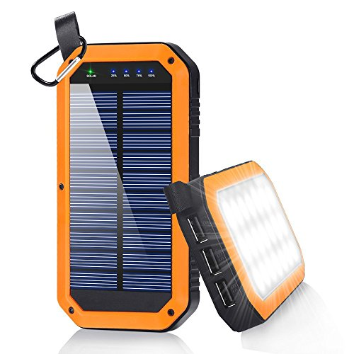 dostyle Solar Charger, 8000mAh Portable Solar Power Bank External Backup Battery Pack 3 USB Ports Solar Phone charger with 21 LED light for iPhone, Samsung Galaxy & other Android Smart Devices Orange (Charger Phone Wind)