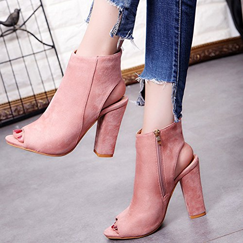 Stacked Pink Zip Ankle Womens Cutout Heels Huiyuzhi Chunky up Booties nzXUq5S