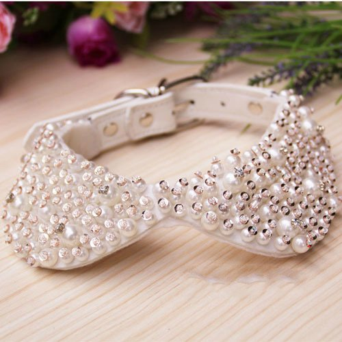 Price comparison product image luckyBEAR Small Female Dog Collar Necklace for Small Dog Girl Wakeu Rhinestone Bling Collars, Adjustable Handmade Pet Bow Tie Pearls Rhinestones Necklace Collarl Puppy Pet Dog Cat Collar Pearl Puppy