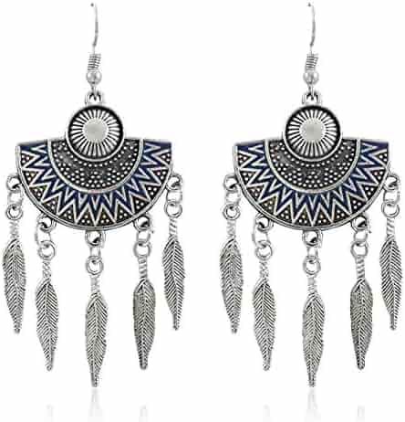 2edd60993 Afco 1Pair Vintage Boho Leaf Pendant Dangle Women Fan Shape Hook Earrings  Xmas Gift