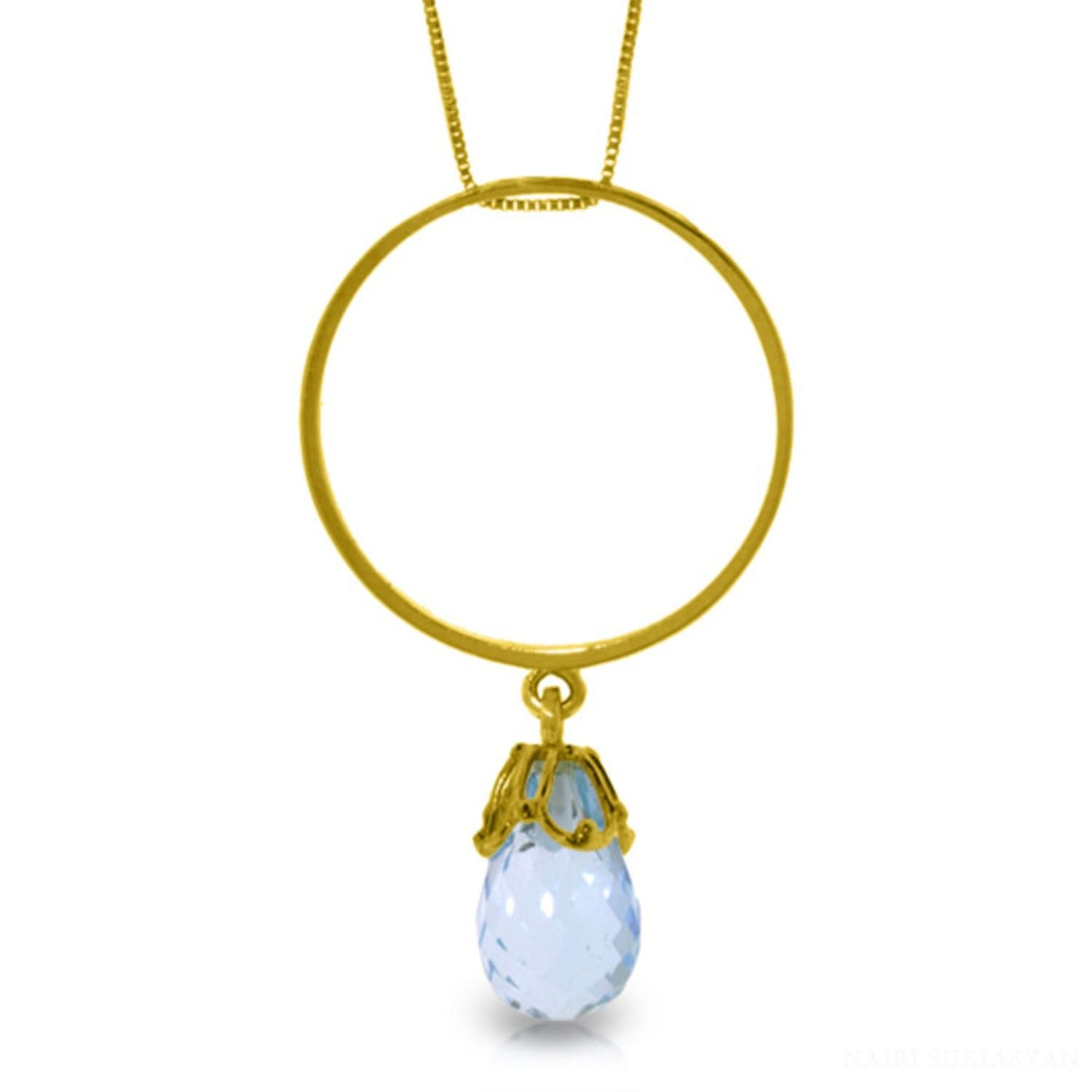 ALARRI 3 CTW 14K Solid Gold Ragazza Blue Topaz Necklace with 20 Inch Chain Length
