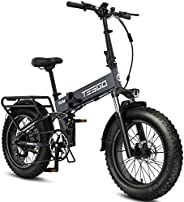 TESGO 750W Electric Bike for Adults Hummer-S 30MPH, 20'' x 4.0'' Fat Tires Foldable Ebike with Full Suspension