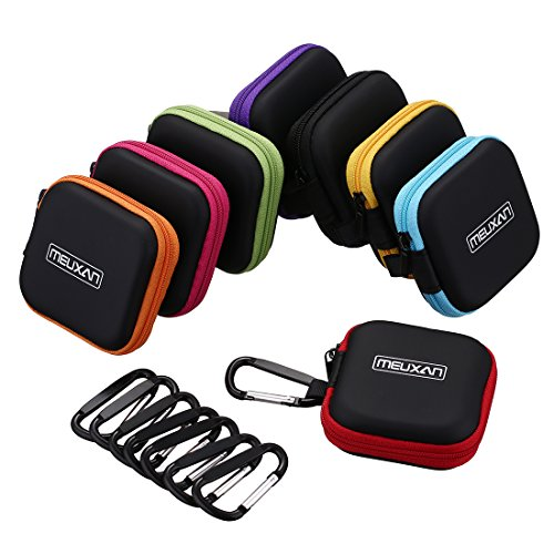 Meuxan 8-Pack Earbud Case Mini Storage Carrying Pouch with Carabiner for Earphone Headphone USB Cable Flash Drive, 8 Colors ()