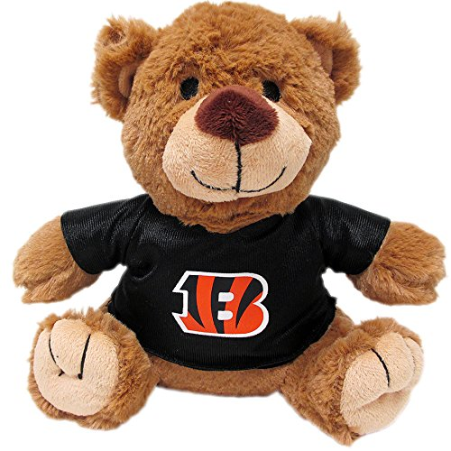 Pets First NFL TEDDY BEAR Plush Toy with inner Squeaker for DOGS, CATS, Kids or Décor. Wearing an CINCINNATI BENGALS Jersey!