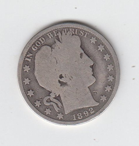 1892 Barber Half Dollar Silver Coin Low Mintage 934,000 First Year Of Issue Circulated Half Dollar Good - Full Date