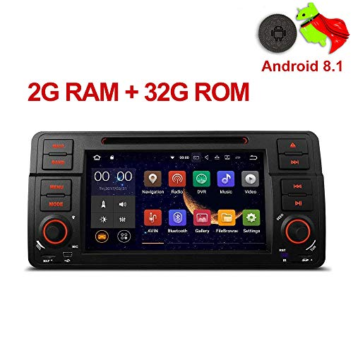 MUCWAUTO 7 Inch Android 8.1 Car Media Player for BMW E46/320/325 Auto GPS Navigation with WiFi Radio DVD Player Rear Camera ()