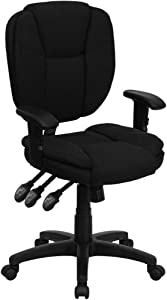 Flash Furniture Mid-Back Black Fabric Multifunction Swivel Ergonomic Task Office Chair with Pillow Top Cushioning and Arms