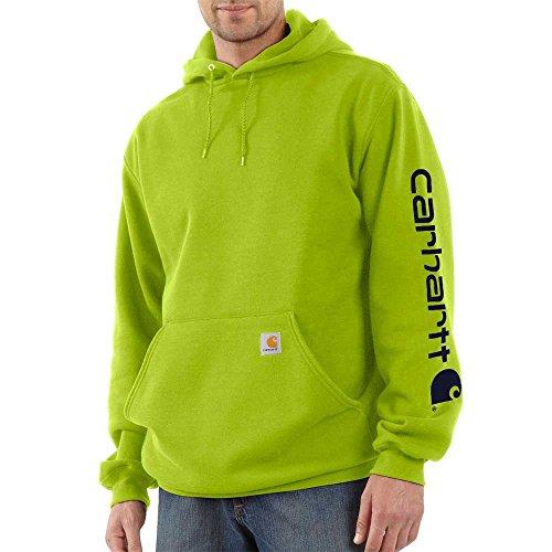 Carhartt Men's K288 Midweight Logo Sleeve Hooded Sweatshirt - Large - Sour Apple/Blue