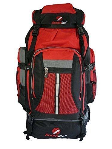 c39055a533 Roamlite Zaino da 80 85 Litri per Campeggio Escursionismo. RL02Mi - Nero e  Rosso
