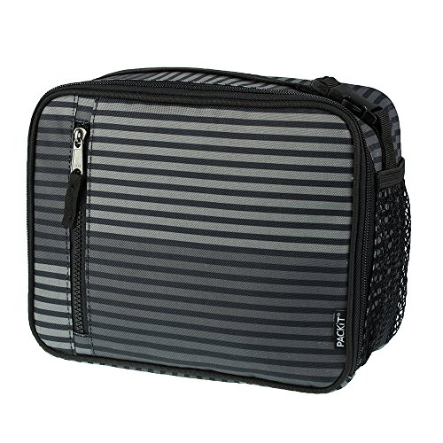 PackIt Freezable Classic Lunch Box, Gray Stripe ()