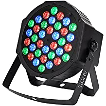 AMOTE DJ Lights 36 Leds Stage Lighting Controlled by IR Remoter and DMX512 RGB Color Mixing Wash Par Can Light for Disco Christmas Wedding Halloween Party Thanksgiving