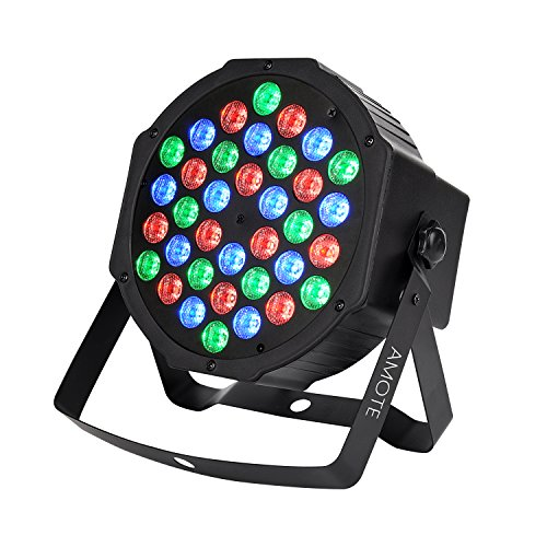AMOTE DJ Lights 36 Leds Stage Lighting Controlled by IR Remoter and DMX512 RGB Color Mixing Wash Par Can Light for Disco Christmas Wedding Halloween Party -