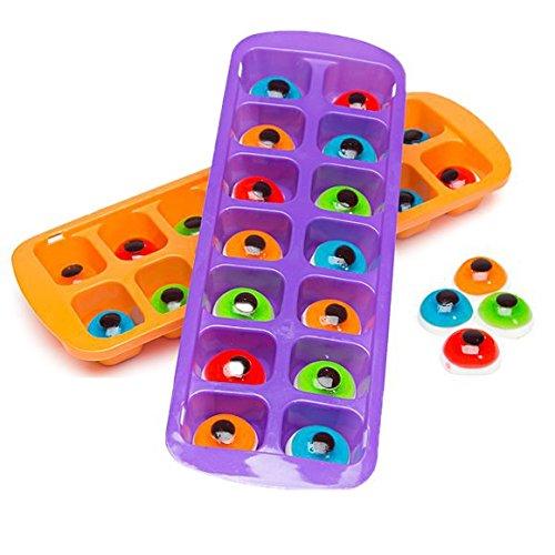 Bundle of 2 Halloween Ice Cube Trays with Gummy Eyeballs, One Purple and One Orange Tray Each With 14 Gummy Eyes -