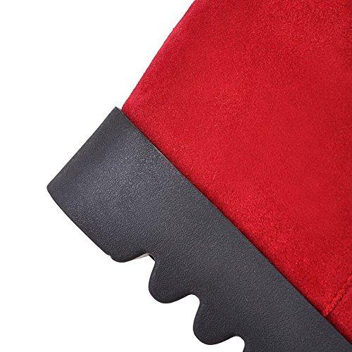 Heels High Polish Zipper Women's Dull Toe top Round High Allhqfashion Closed Red Boots dxtq0wYnX